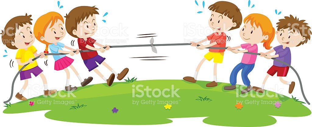 Kids Playing Tug Of War At The Park stock vector art 527675864.