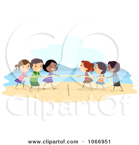 Cartoon of Diverse Children Playing Tug of War.
