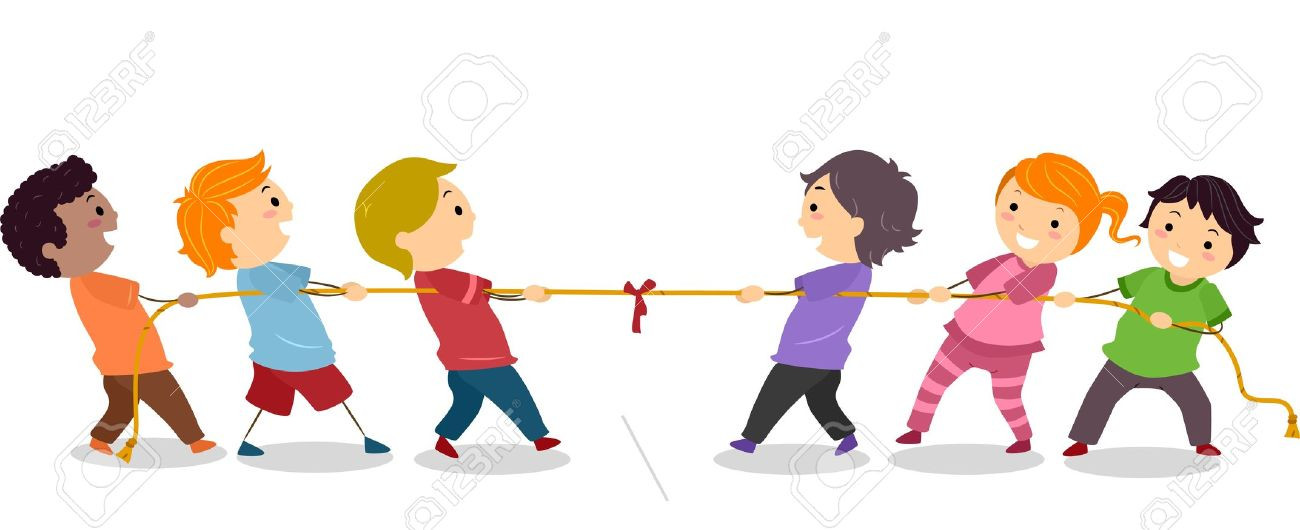 Illustration Of Little Kids Playing Tug Of War Stock Photo.