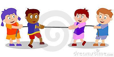 Cartoon Kids Playing Tug Of War Royalty Free Stock Images.