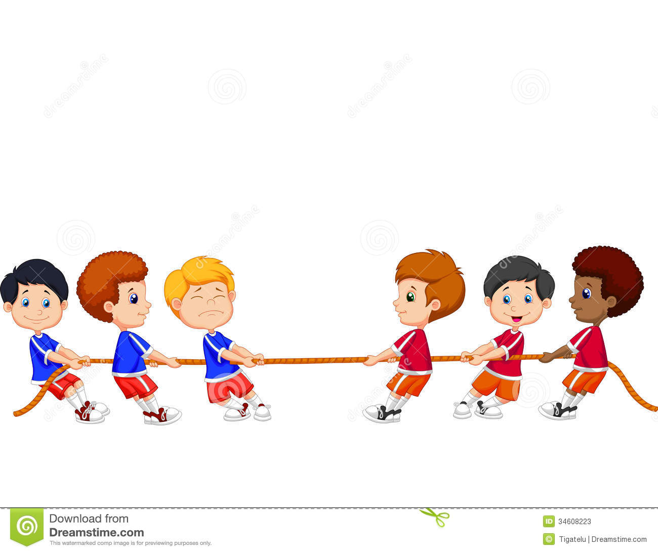 Group Cartoon Of Children Playing Tug Of War Stock Photos.