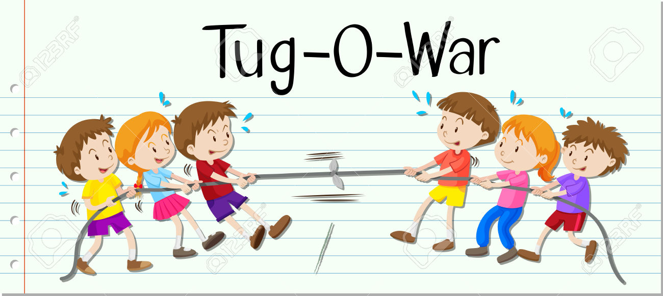 Children Playing Tug Of War Illustration Royalty Free Cliparts.