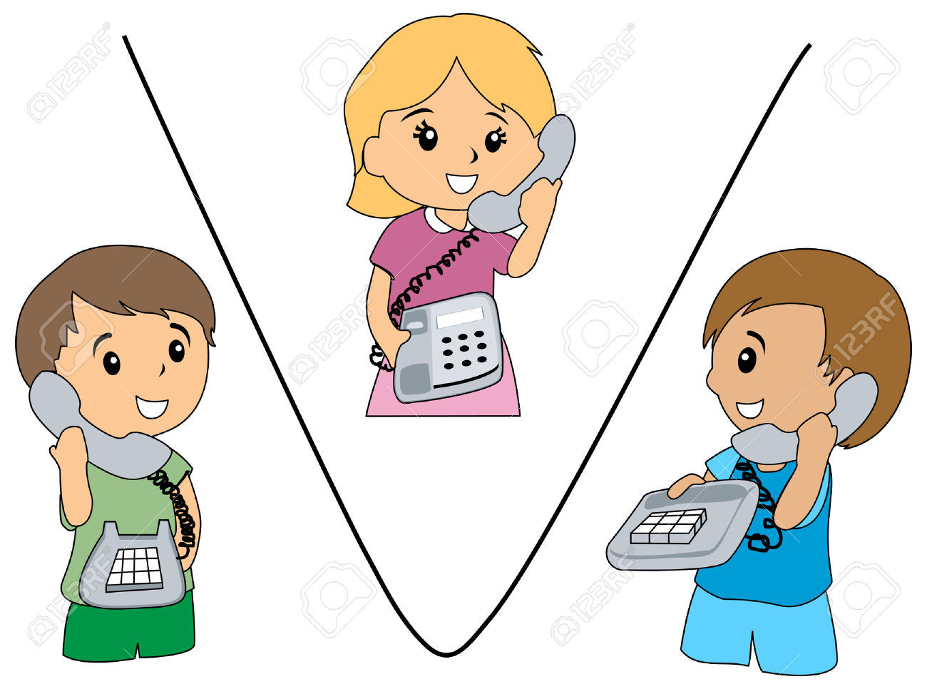Illustration Of Kids Talking On The Phone Royalty Free Cliparts.