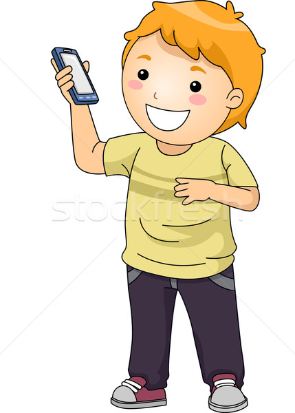 Kid Boy Mobile Phone vector illustration © lenm (#6798316.