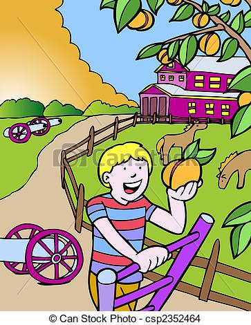 EPS Vector of peach picking cartoon of a child living in the state.