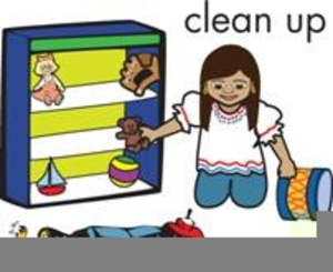 Children Picking Up Toys Clipart.