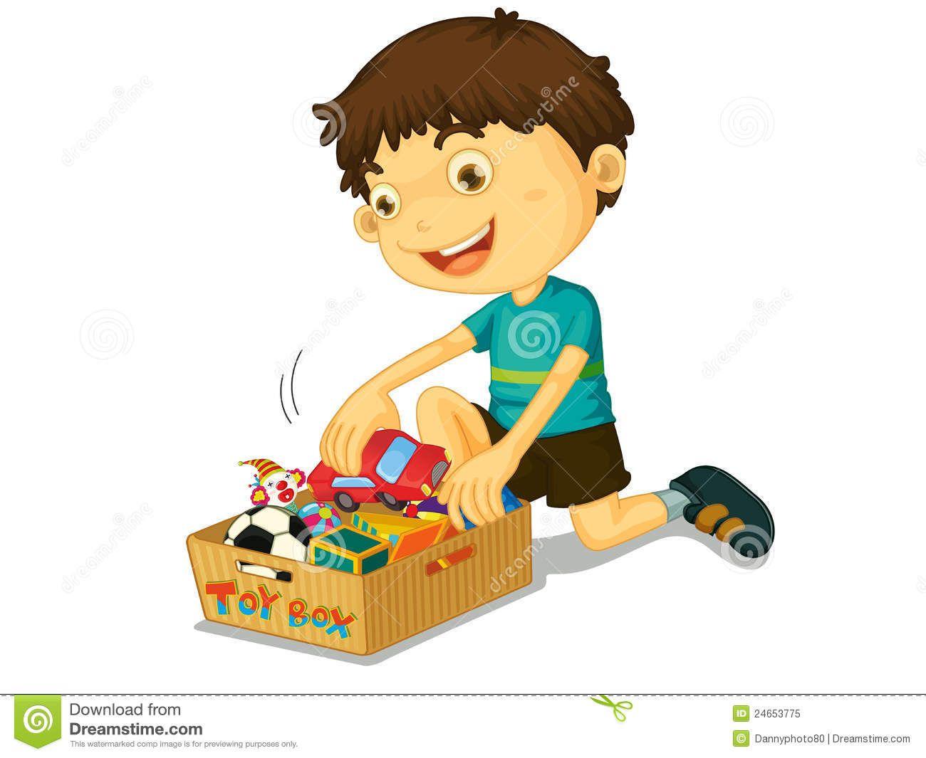 boy picking up toys.