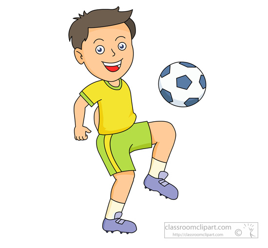 Child playing soccer clipart.
