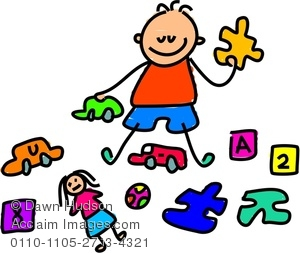 Clipart Image of A Happy Little Boy Playing With Toys.