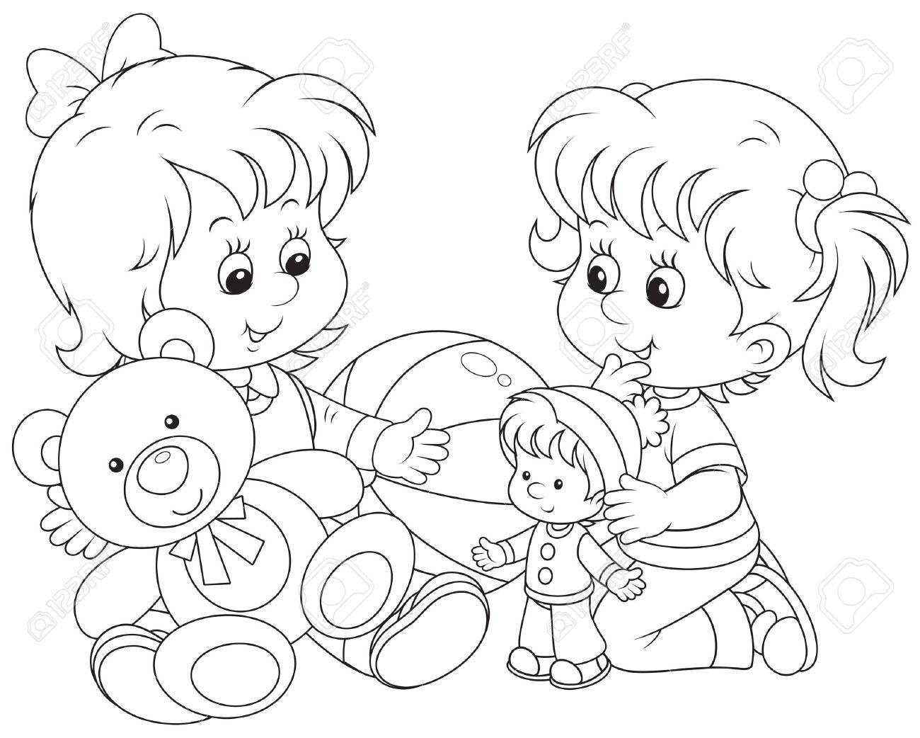 clipart black and white children playing with toys.
