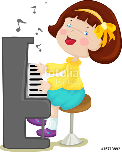 Little girl playing piano clipart.