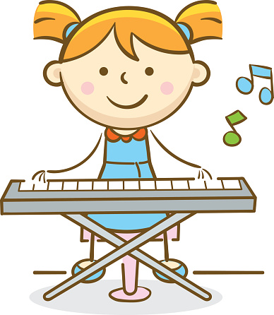 Child playing piano clipart.