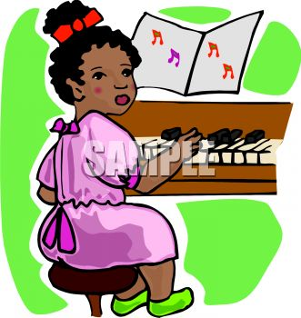 Kids playing piano clipart.