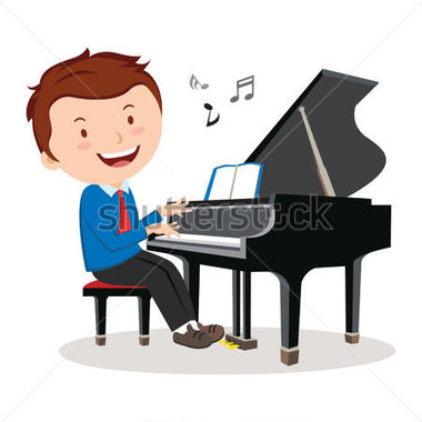 Boy playing piano clipart free.