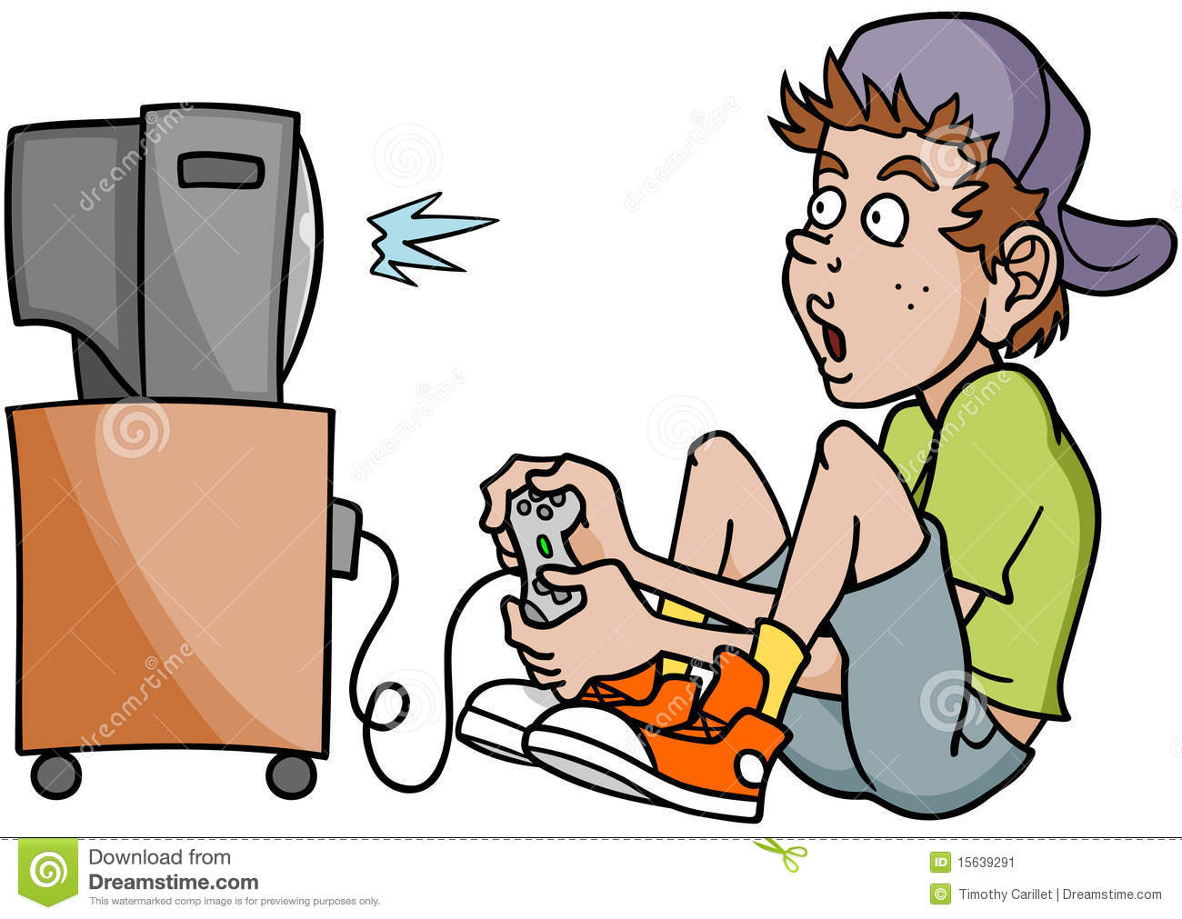Child Playing Video Games Clipart.