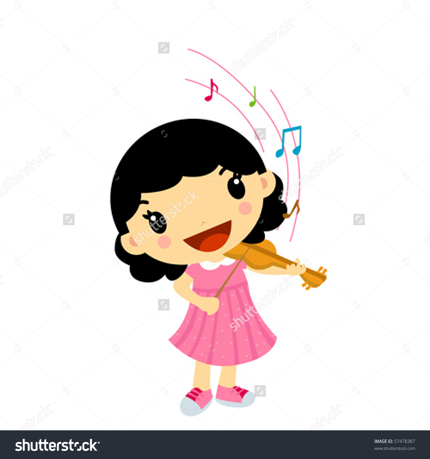 Girl Playing Violin Stock Vector 57478387.