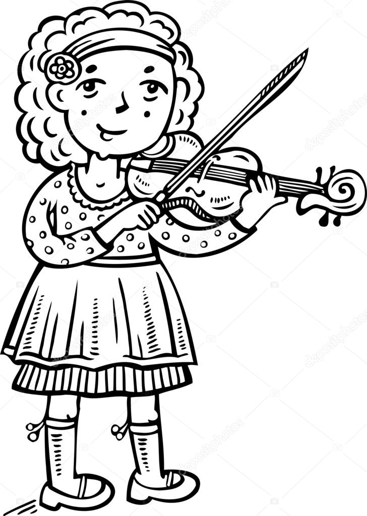 Girl playing the violin.Children. — Stock Vector © Digital.