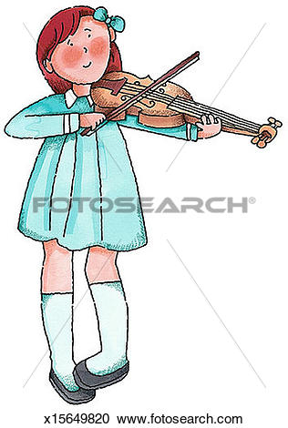 Stock Illustrations of Girl Playing Violin x15649820.