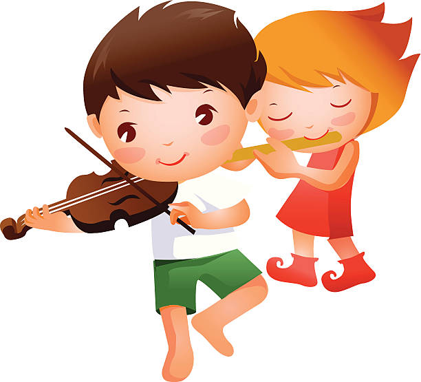Cute Little Girl Playing Violin Clip Art, Vector Images.