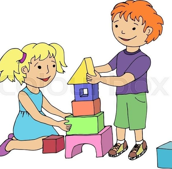 Little Girl And Boy Playing With Toy Blocks. Vector Illustration in.