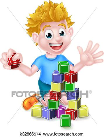 Cartoon Boy Playing With Building Blocks Clipart.