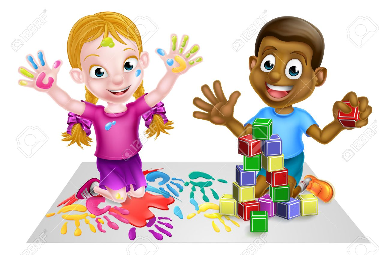 Two kids playing with paints and toy building blocks.