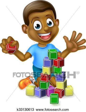 Boy Playing With Building Blocks Clipart.