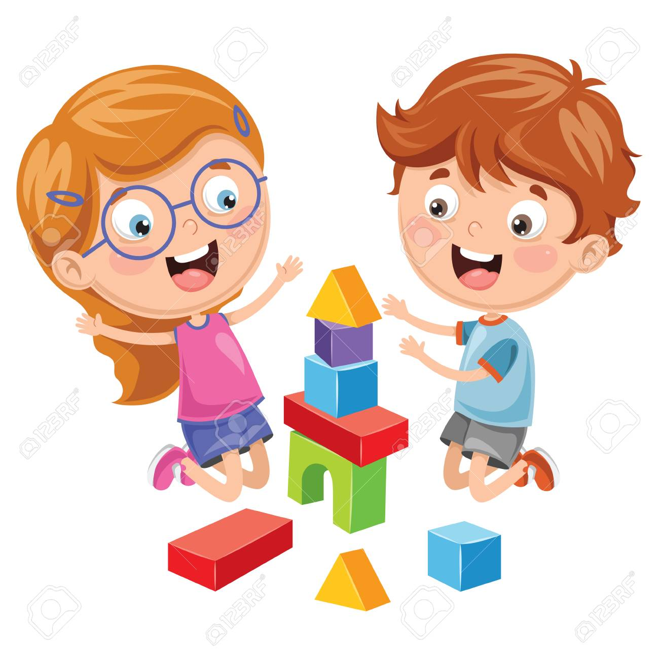 Vector Illustration Of Kid Playing With Building Blocks.