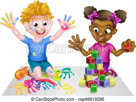 Cartoon Kids Playing.