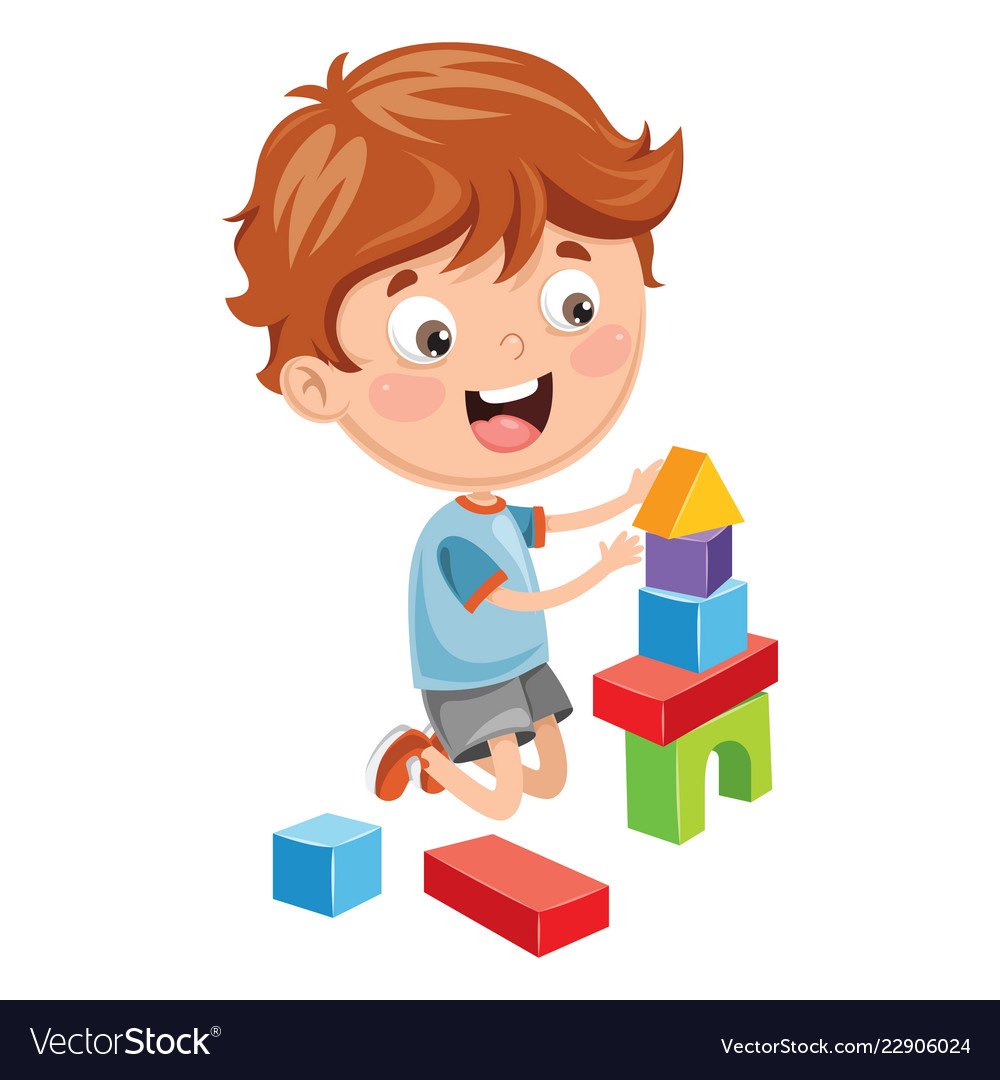 Of kid playing with building b.