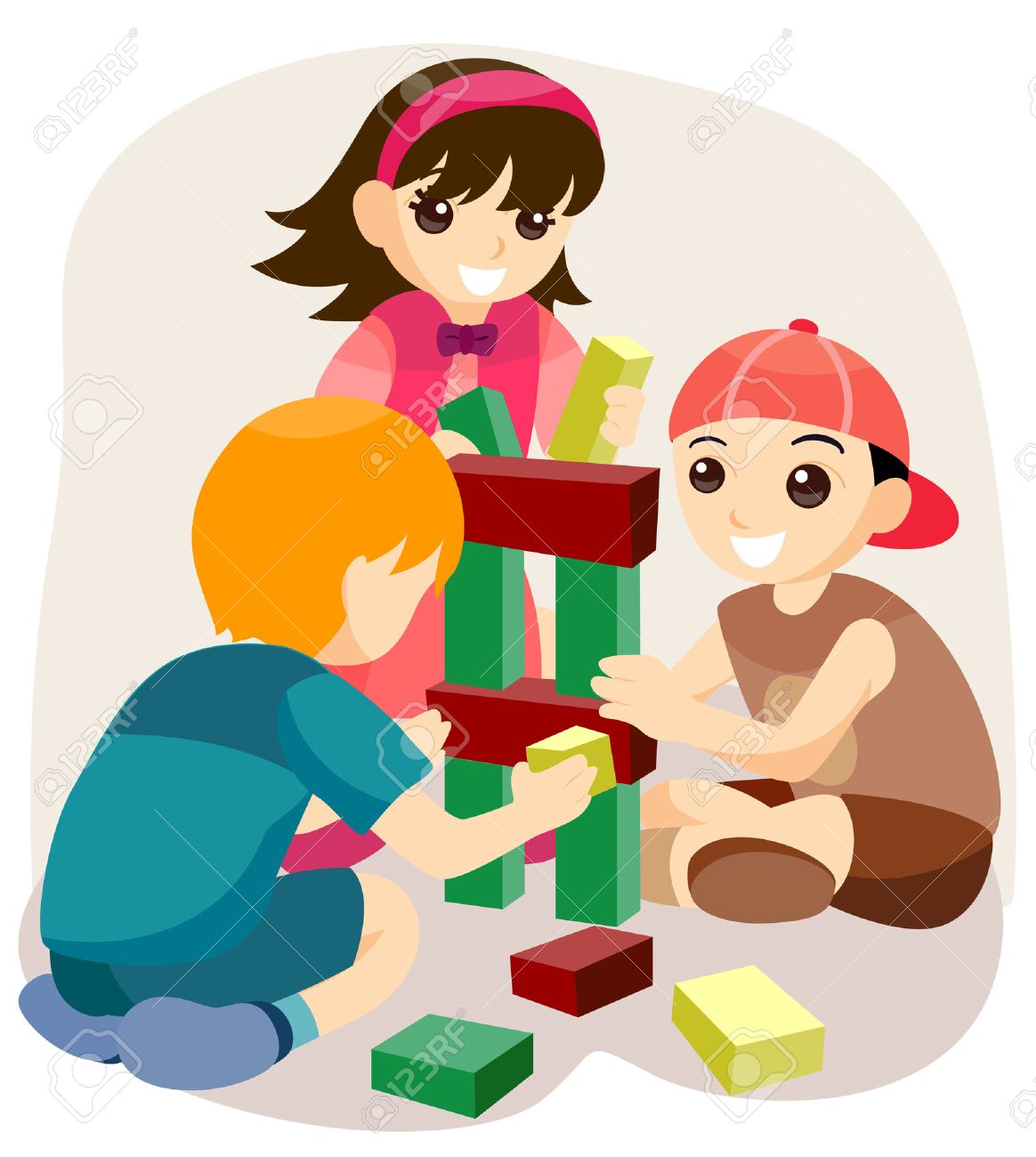 Children playing with Building Blocks with Clipping Path.