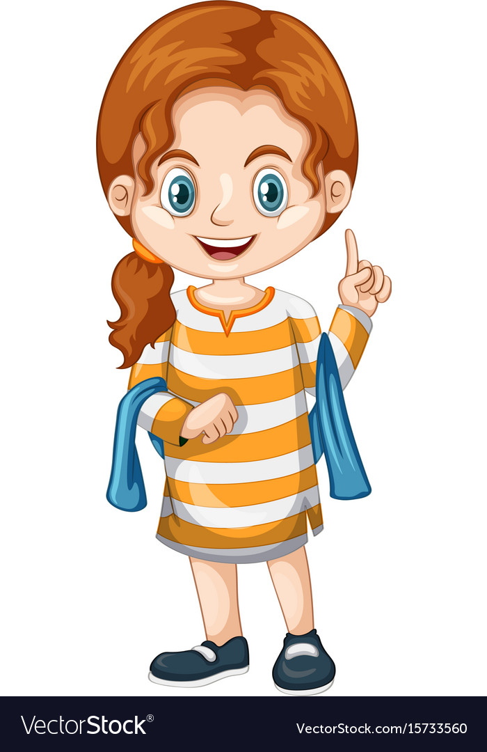 Little girl pointing finger up vector image.