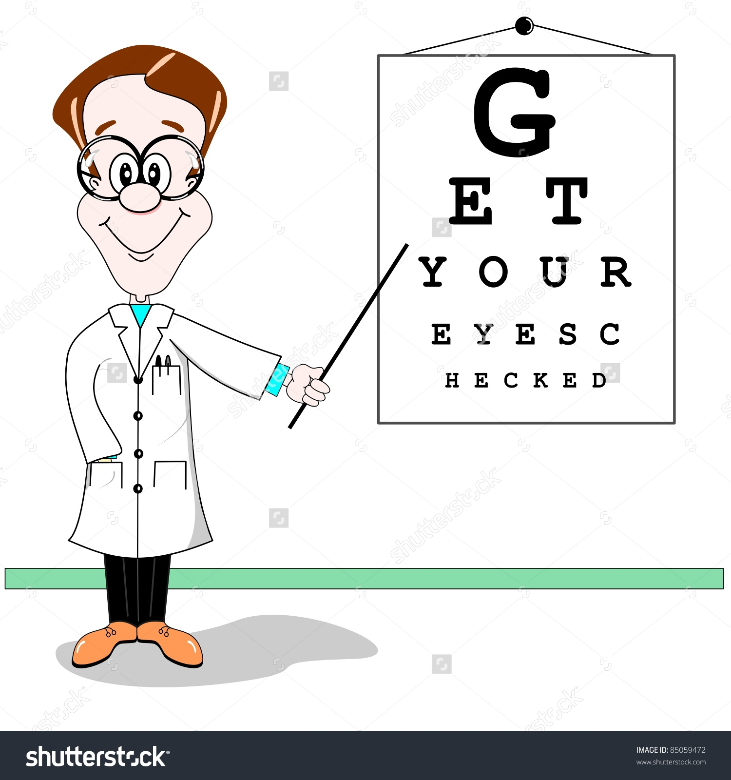 Cartoon Illustration Optician Pointing Eye Test Stock Vector.