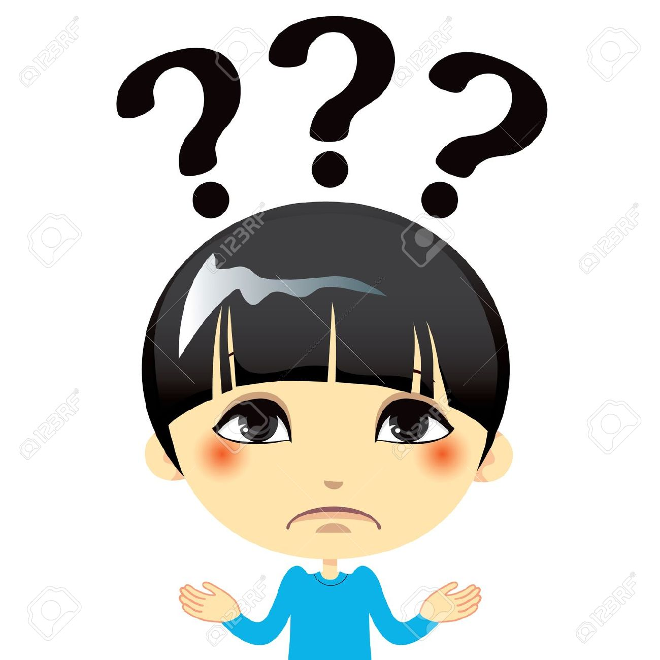 Confused kid in class clipart.