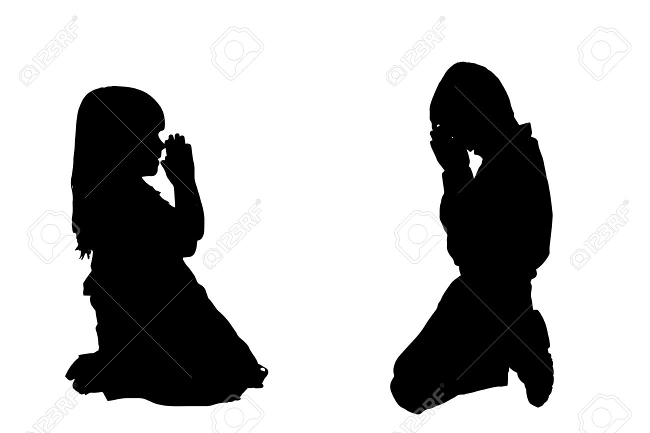 Vector Silhouette Of A Children Who Is Praying. Royalty Free.