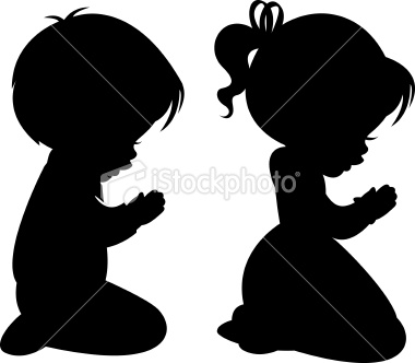 Children Praying Silhouettes.