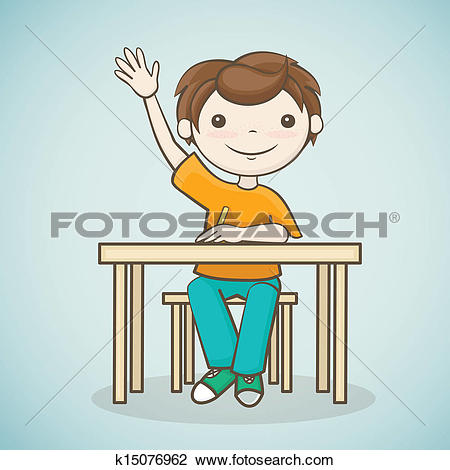 Clipart of Cartoon schoolboy raising hand k15443132.