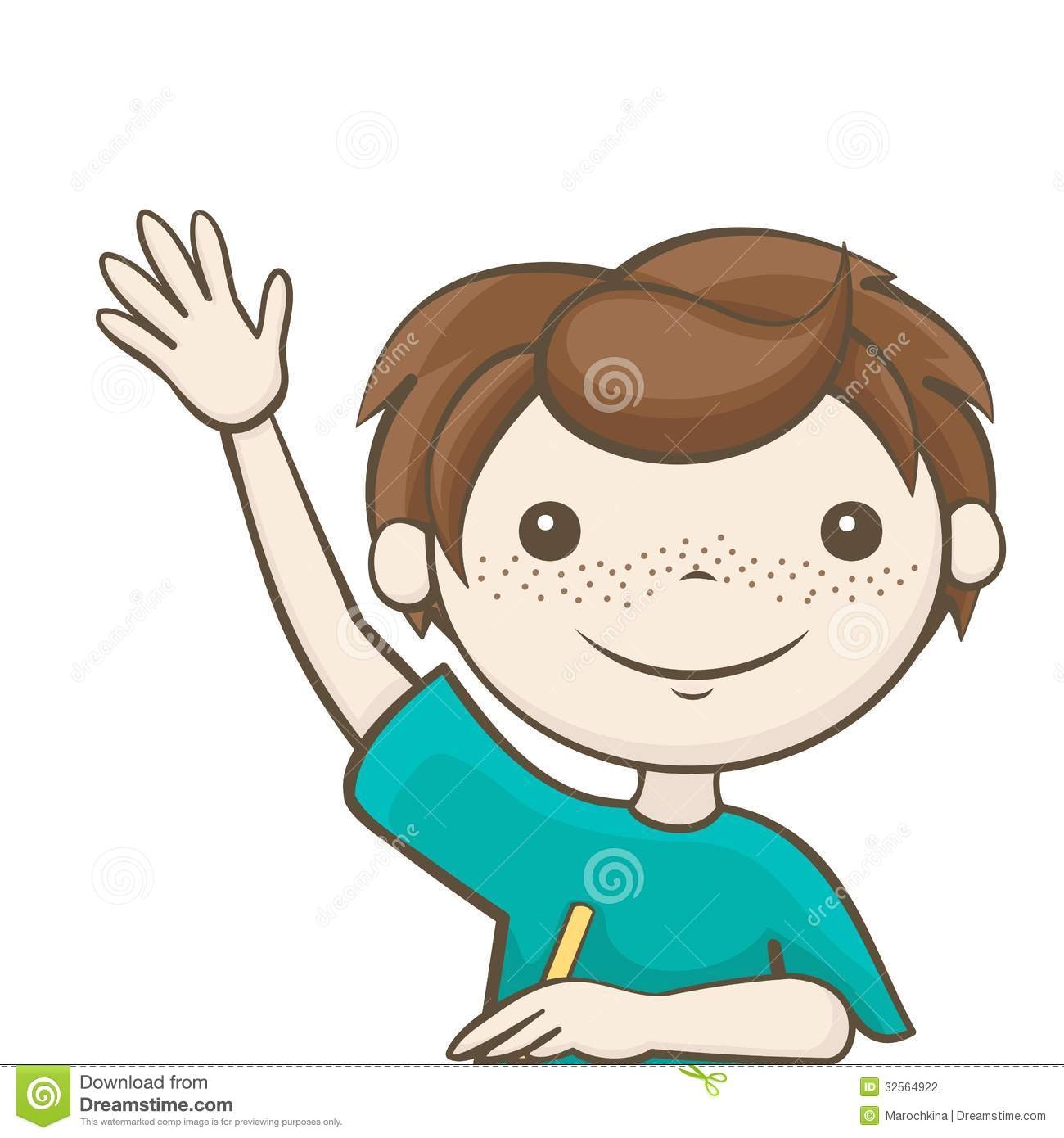 Kid Raising Hand Clipart.