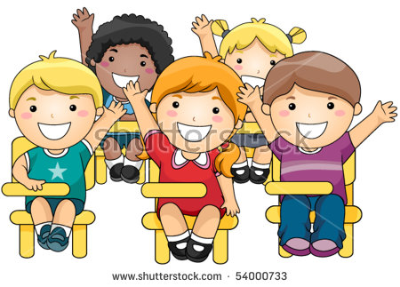 Classroom Raising Hands Stock Images, Royalty.