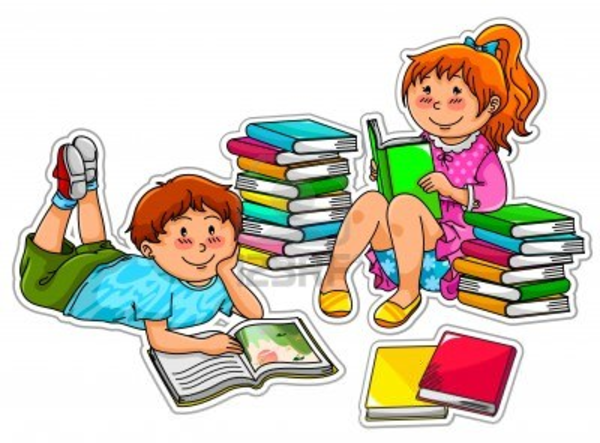 Clipart Of Books With Children Reading.