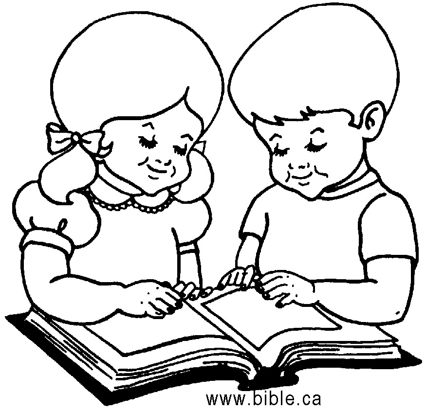 Children With Books Clipart Black And White.