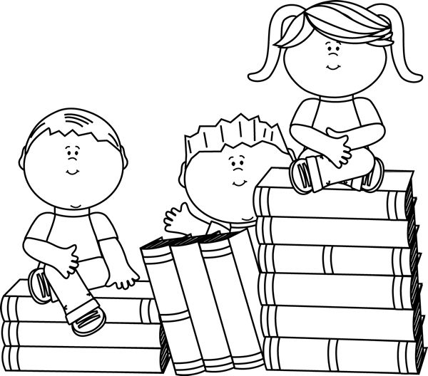 Free Kid Reading Black And White, Download Free Clip Art.