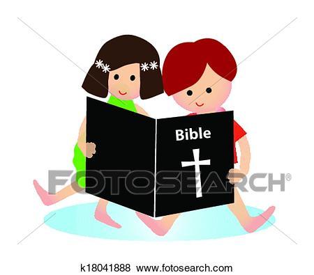 Child reading bible Clip Art.