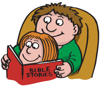Children Reading The Bible Clipart PNG.