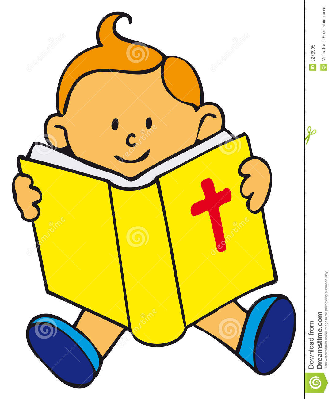 Children Reading The Bible Clipart.