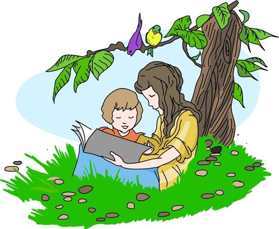 Child reading children reading book clipart.