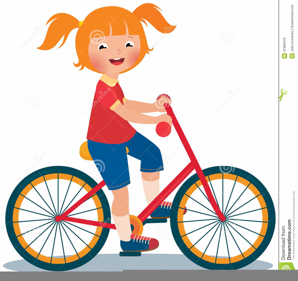 Clipart Child Riding Bicycle.