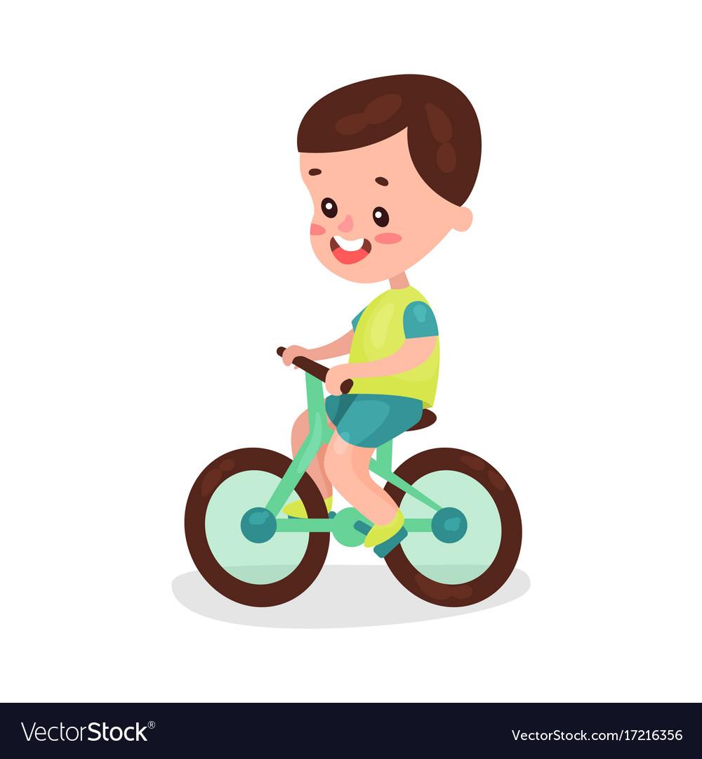 Adorable brunette little boy riding bike cartoon.