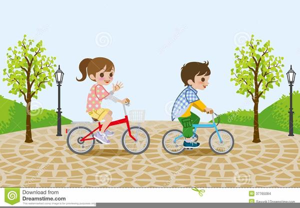 Kids Riding Bikes Clipart.