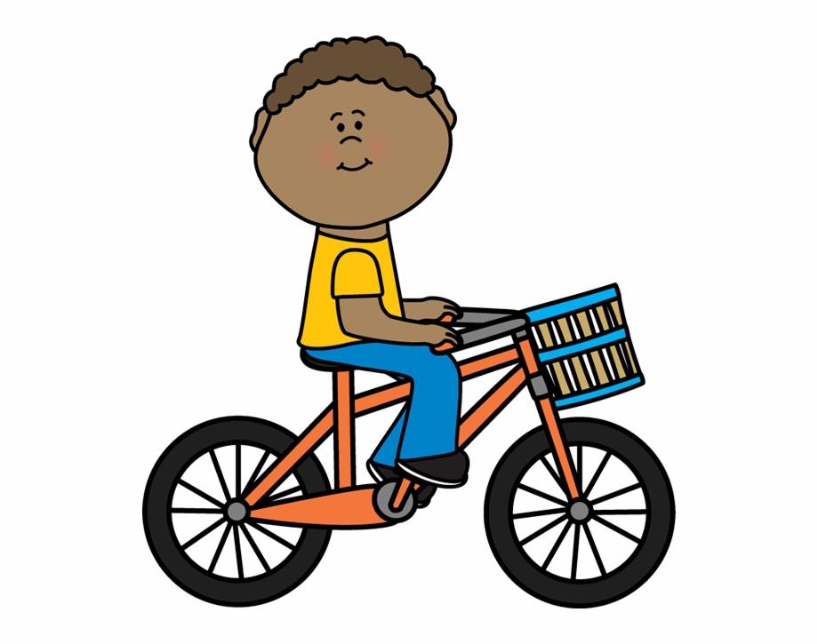 Boy Riding A With Basket Postacie Do.